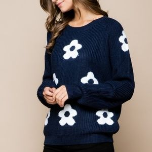 Embroidered flower crew neck sweater